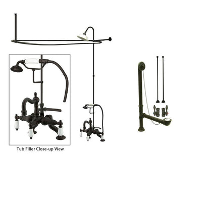 Oil Rubbed Bronze Clawfoot Tub Faucet Shower Kit with Enclosure Curtain Rod 2011T5CTS