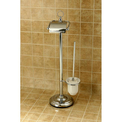 Kingston Brass Chrome pedestal freestanding Toilet Paper and Brush Holder CC2011