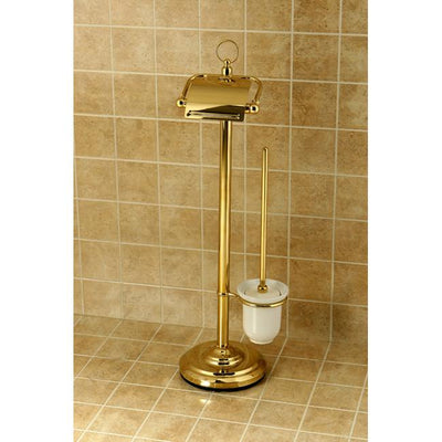 Kingston Polished Brass pedestal freestanding Toilet Paper & Brush Holder CC2012