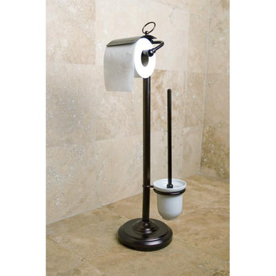 Oil Rubbed Bronze pedestal freestanding Toilet Paper & Brush Holder CC2015