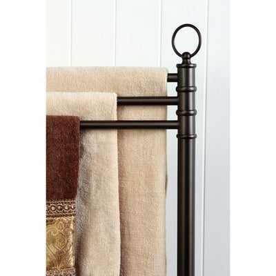 Kingston Oil Rubbed Bronze pedestal freestanding Tower Rack with 3 Bars CC2025