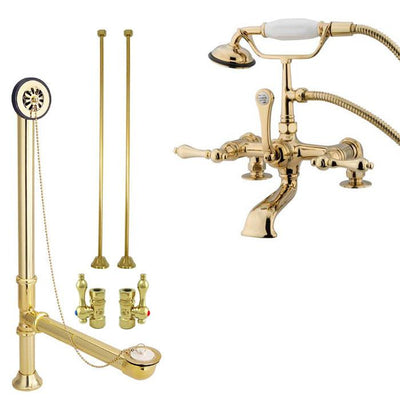 Polished Brass Deck Mount Clawfoot Tub Faucet Package w Drain Supplies Stops CC203T2system
