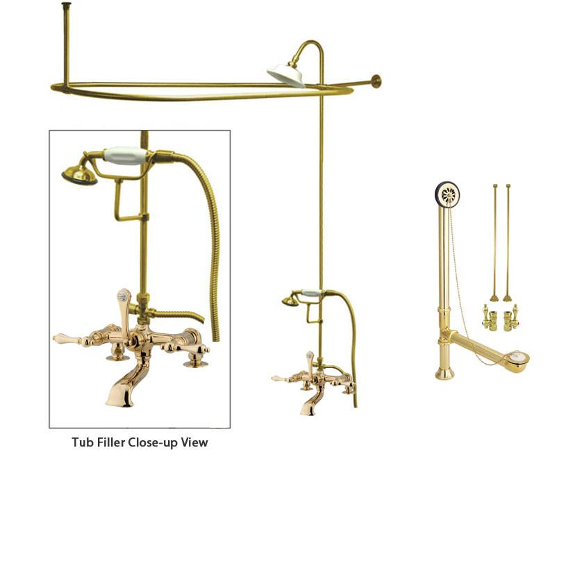 Polished Brass Clawfoot Tub Faucet Shower Kit with Enclosure Curtain Rod 203T2CTS