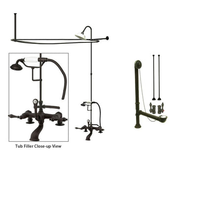Oil Rubbed Bronze Clawfoot Tub Faucet Shower Kit with Enclosure Curtain Rod 203T5CTS