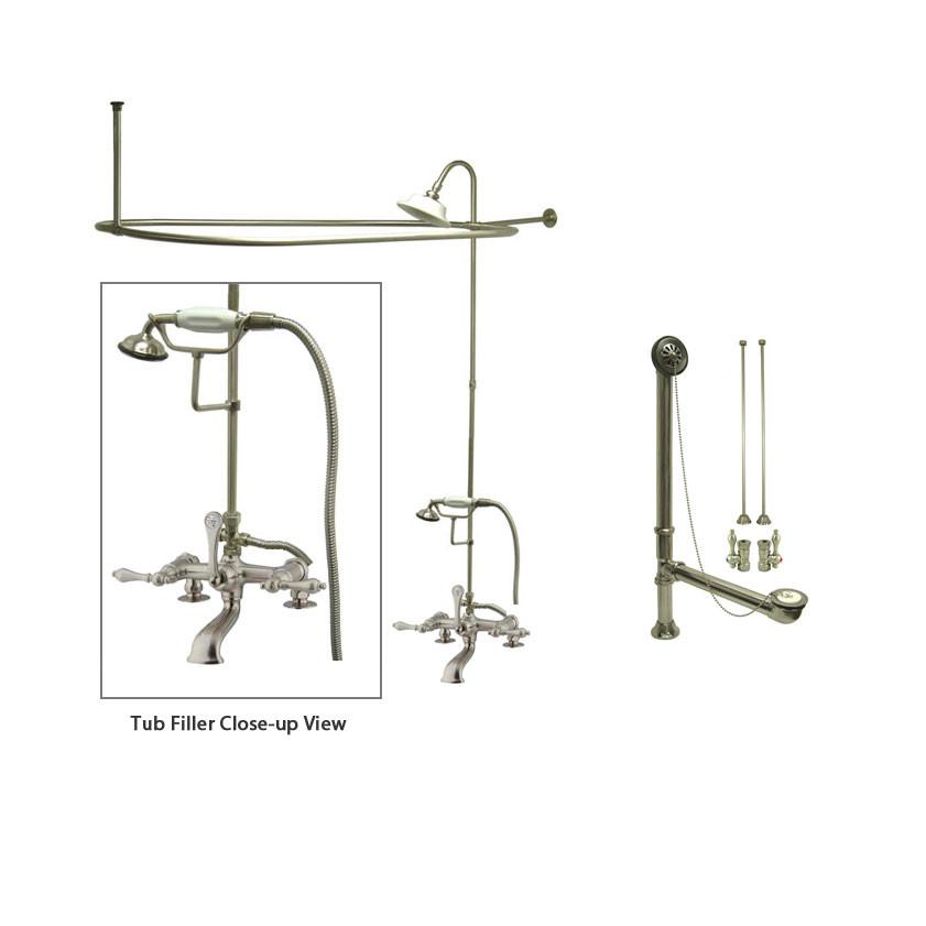 Satin Nickel Clawfoot Tub Faucet Shower Kit with Enclosure Curtain Rod 203T8CTS