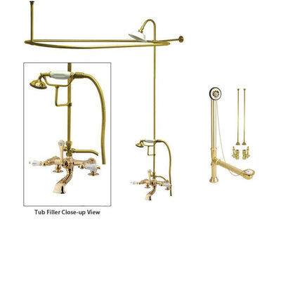 Polished Brass Clawfoot Tub Faucet Shower Kit with Enclosure Curtain Rod 207T2CTS