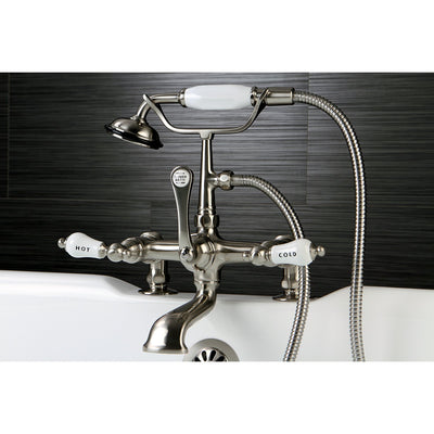 Kingston Brass Satin Nickel Deck Mount Clawfoot Tub Faucet w hand shower CC207T8