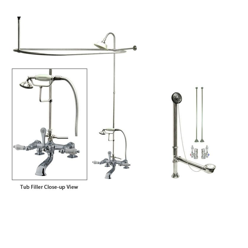 Chrome Clawfoot Tub Faucet Shower Kit with Enclosure Curtain Rod 208T1CTS