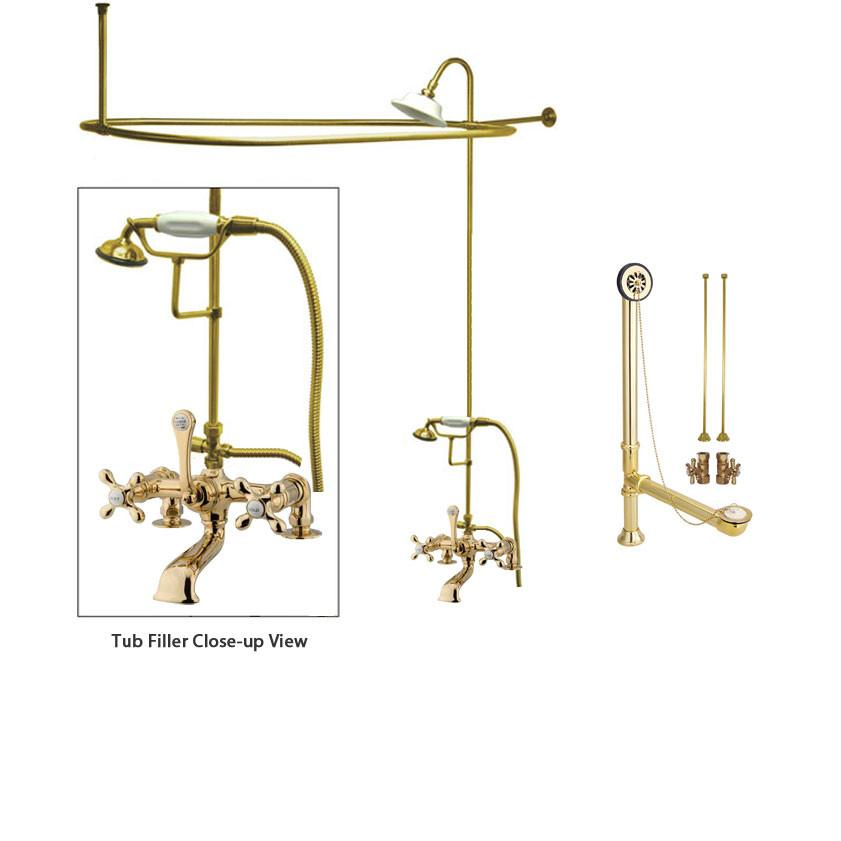 Polished Brass Clawfoot Bathtub Faucet Shower Kit with Enclosure Curtain Rod 209T2CTS