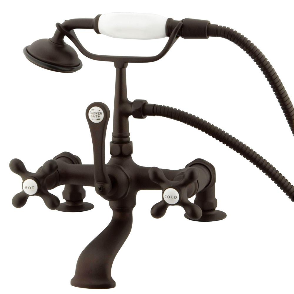 Kingston Oil Rubbed Bronze Deck Mount Clawfoot Tub Faucet w hand shower CC209T5