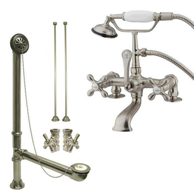Satin Nickel Deck Mount Clawfoot Tub Faucet w hand shower w Drain Supplies Stops CC209T8system