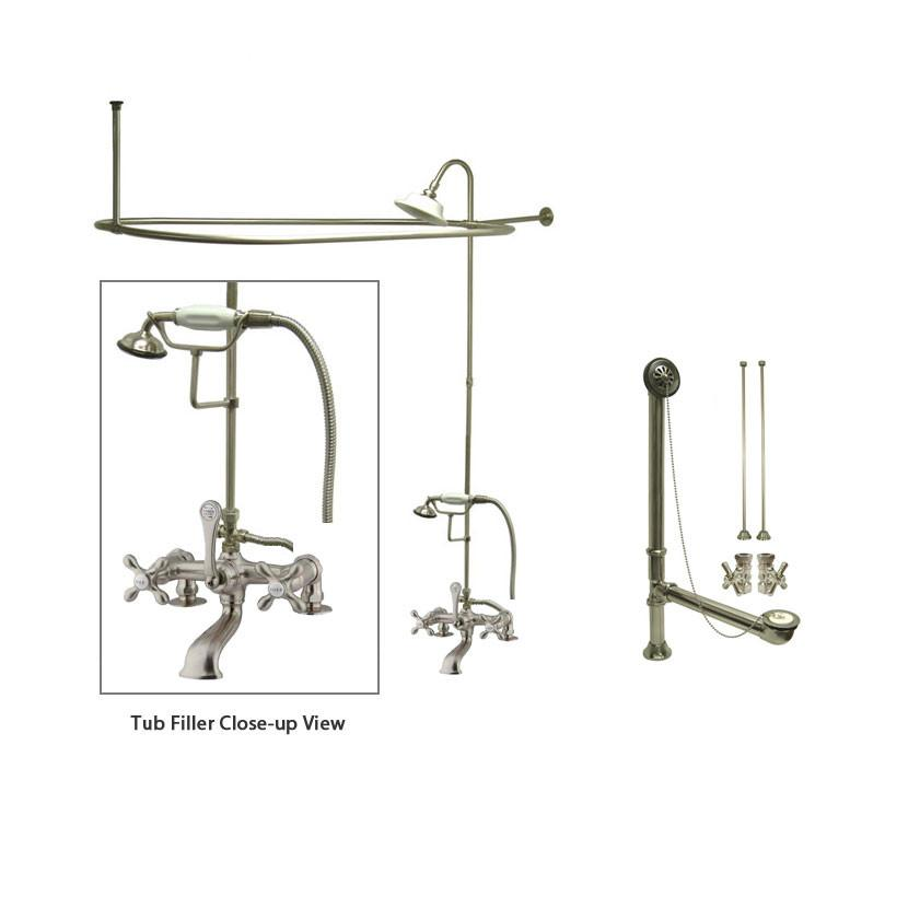 Satin Nickel Clawfoot Tub Faucet Shower Kit with Enclosure Curtain Rod 209T8CTS