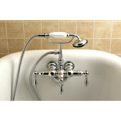 Kingston Brass Chrome Wall Mount Clawfoot Tub Filler with Hand Shower CC20T1