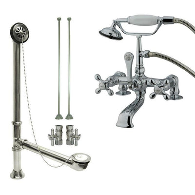 Chrome Deck Mount Clawfoot Tub Faucet w hand shower w Drain Supplies Stops CC210T1system