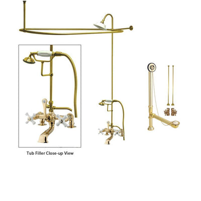 Polished Brass Clawfoot Tub Shower Faucet Kit with Enclosure Curtain Rod 211T2CTS