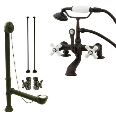 Oil Rubbed Bronze Deck Mount Clawfoot Tub Faucet w hand shower System Package CC211T5system