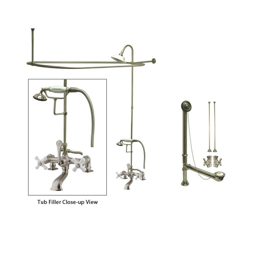 Satin Nickel Clawfoot Bathtub Faucet Shower Kit with Enclosure ...
