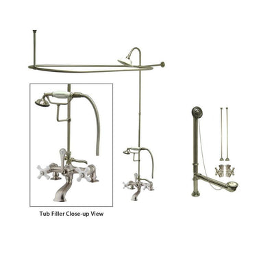 Satin Nickel Clawfoot Bathtub Faucet Shower Kit with Enclosure Curtain Rod 211T8CTS