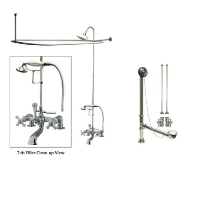 Chrome Clawfoot Tub Faucet Shower Kit with Enclosure Curtain Rod 212T1CTS
