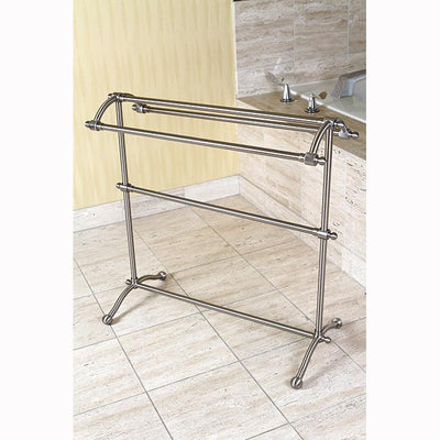 Kingston Satin Nickel Sturdy Heavy Large Pedestal freestanding Towel Rack CC2298