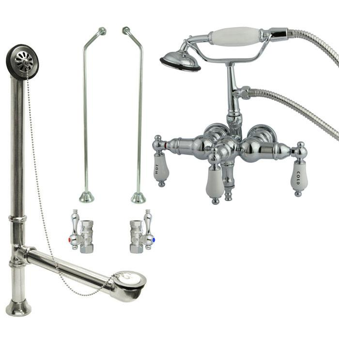 Chrome Wall Mount Clawfoot Tub Faucet w hand shower w Drain Supplies Stops CC22T1system