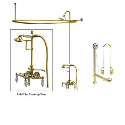 Polished Brass Clawfoot Tub Faucet Shower Kit with Enclosure Curtain Rod 23T2CTS