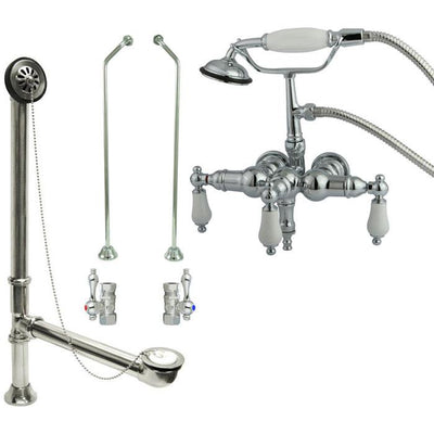 Chrome Wall Mount Clawfoot Tub Faucet w hand shower w Drain Supplies Stops CC24T1system