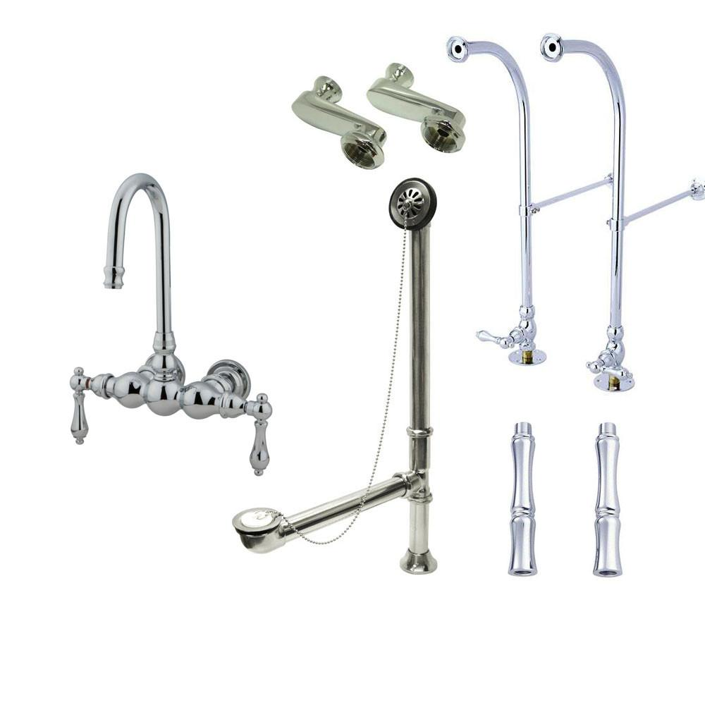 Freestanding Floor Mount Chrome Metal Lever Handle Clawfoot Tub Filler Faucet Package 2T1FSP