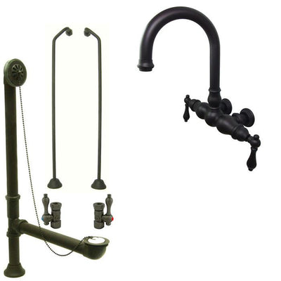Oil Rubbed Bronze Wall Mount Clawfoot Tub Faucet Package w Drain Supplies Stops CC3001T5system