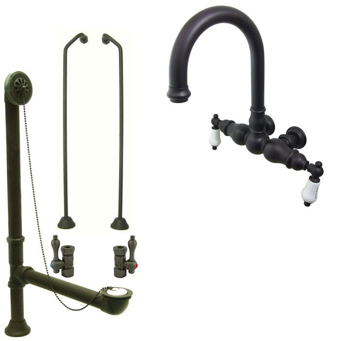Oil Rubbed Bronze Wall Mount Clawfoot Tub Faucet Package w Drain Supplies Stops CC3003T5system