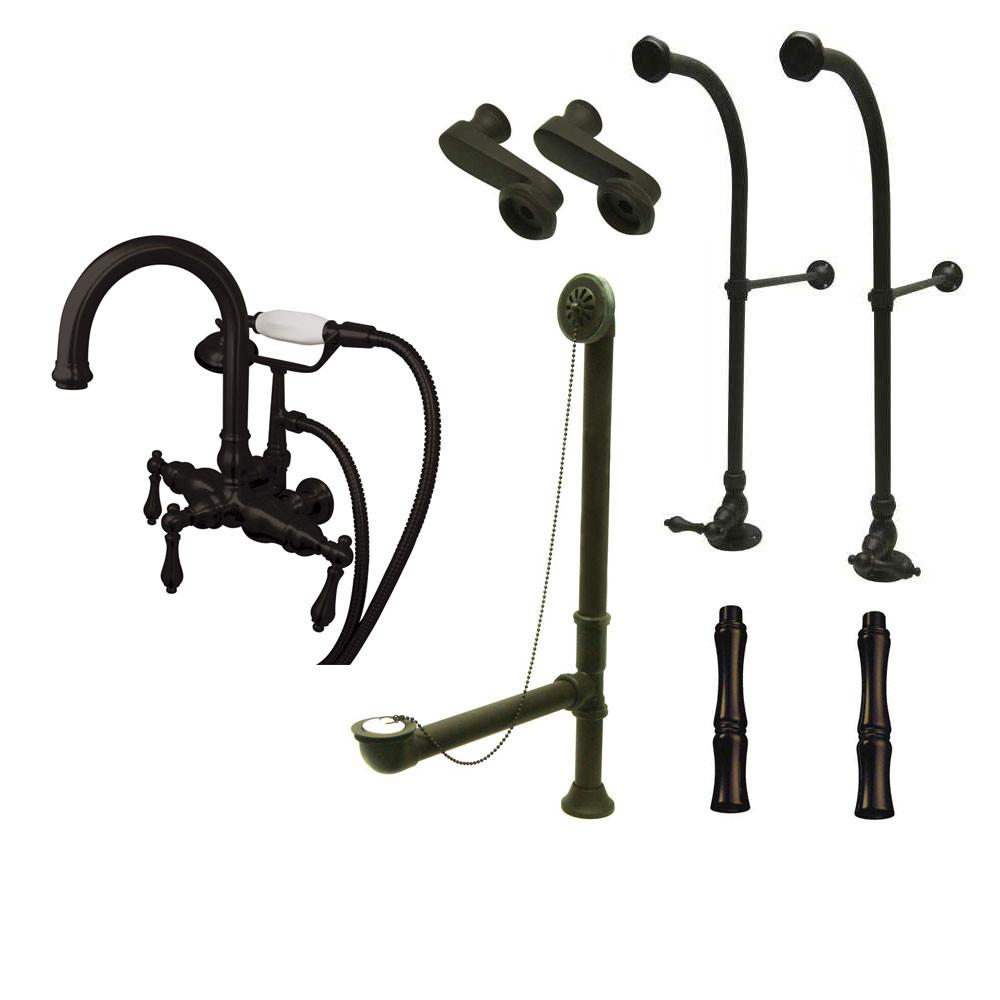Freestanding Floor Mount Oil Rubbed Bronze Metal Lever Handle Clawfoot Tub Filler Faucet with Hand Shower Package 3013T5FSP