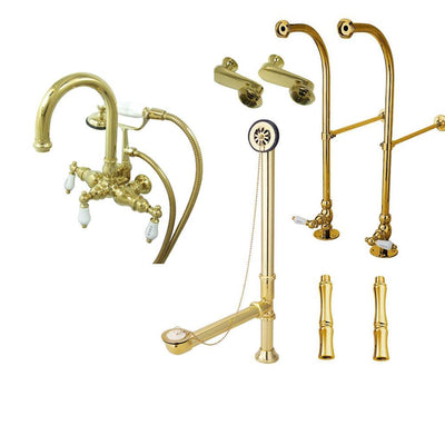Freestanding Floor Mount Polished Brass Hot/Cold Porcelain Lever Handle Clawfoot Tub Filler Faucet with Hand Shower Package 3015T2FSP