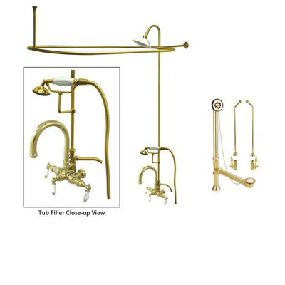 Polished Brass Clawfoot Tub Shower Faucet Kit with Enclosure Curtain Rod 3015T2CTS