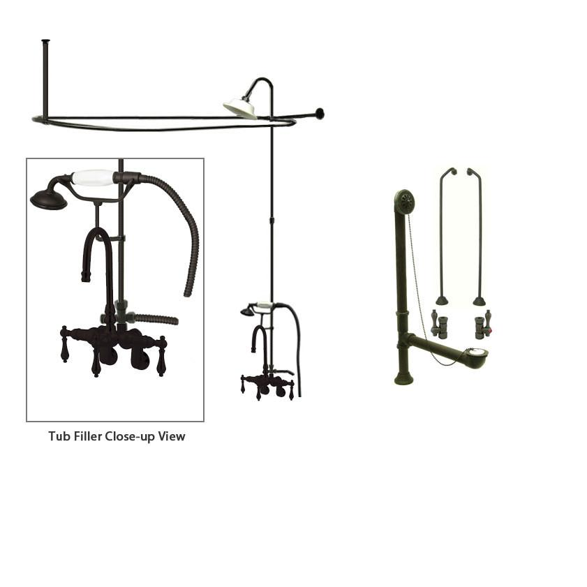 Oil Rubbed Bronze Clawfoot Tub Faucet Shower Kit with Enclosure Curtain Rod 301T5CTS