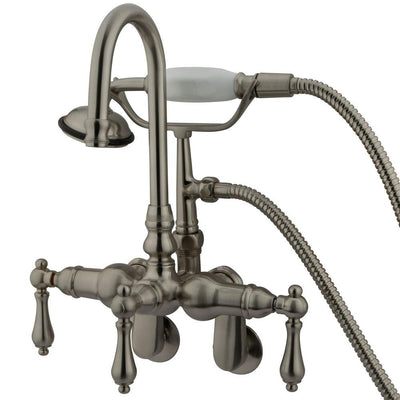 Kingston Brass Satin Nickel Wall Mount Clawfoot Tub Faucet w hand shower CC301T8