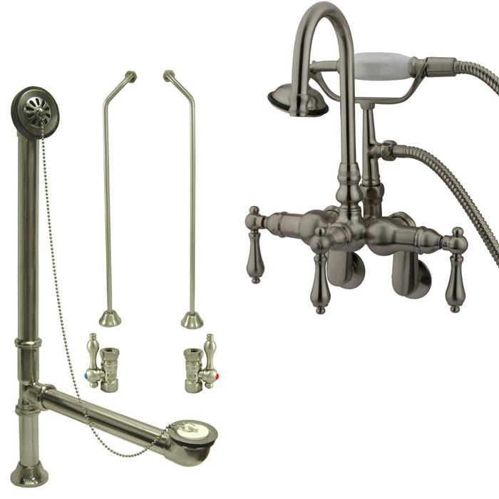 Satin Nickel Wall Mount Clawfoot Tub Faucet w hand shower w Drain Supplies Stops CC301T8system