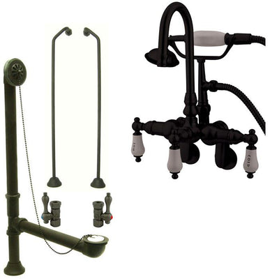 Oil Rubbed Bronze Wall Mount Clawfoot Tub Faucet w hand shower System Package CC303T5system