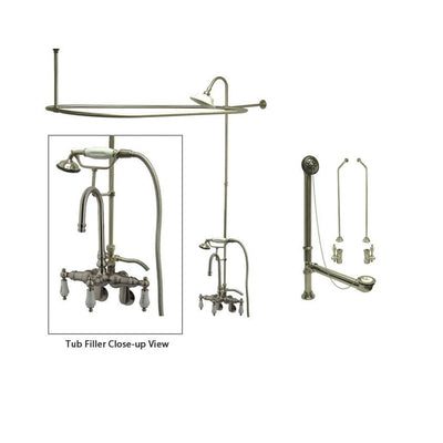 Satin Nickel Clawfoot Tub Faucet Shower Kit with Enclosure Curtain Rod 303T8CTS