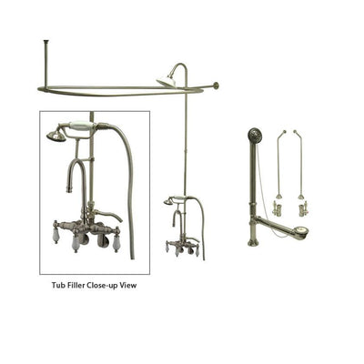 Satin Nickel Clawfoot Tub Faucet Shower Kit with Enclosure Curtain Rod 305T8CTS