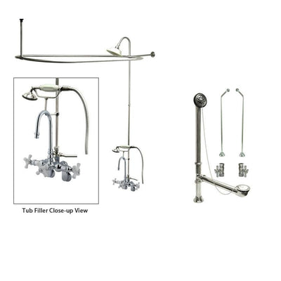 Chrome Clawfoot Tub Faucet Shower Kit with Enclosure Curtain Rod 308T1CTS