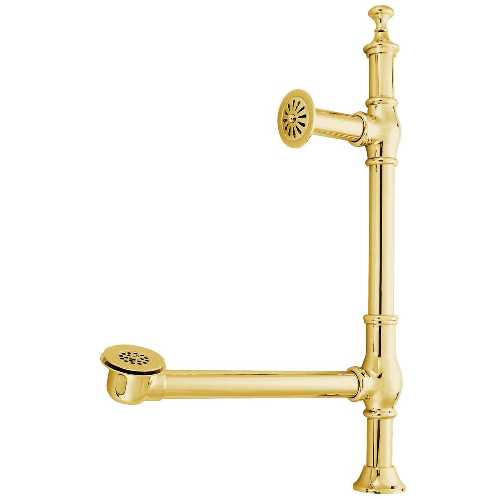 Pull Up Knob Polished Brass Clawfoot Tub Waste and Overflow Drain CC3092