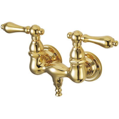 Kingston Brass Polished Brass Wall Mount Clawfoot Tub Filler Faucet CC31T2