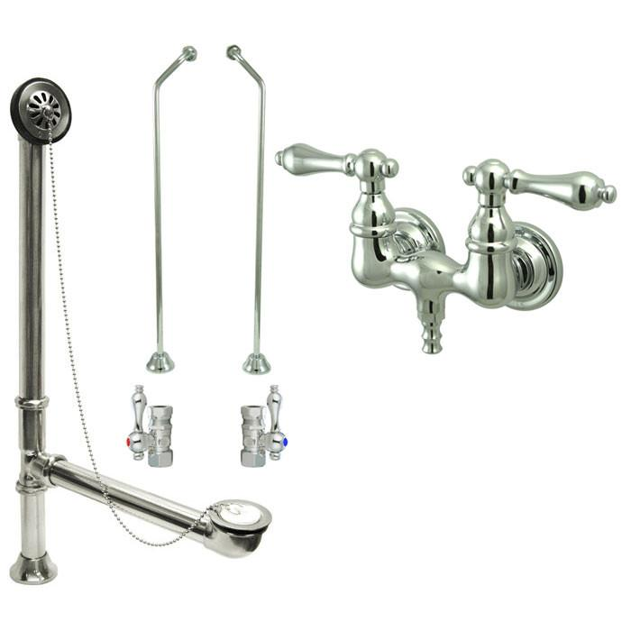 Chrome Wall Mount Clawfoot Tub Filler Faucet Package Supply Lines & Drain CC32T1system