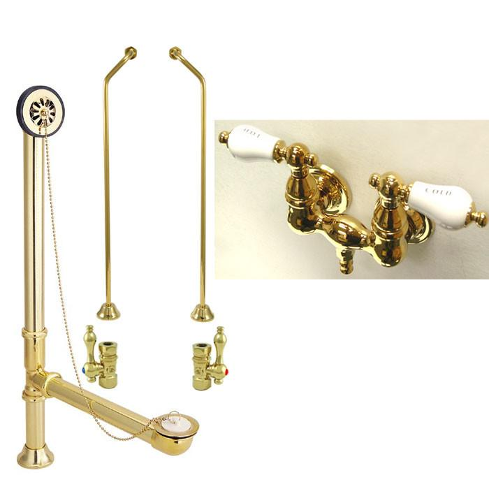 Polished Brass Wall Mount Clawfoot Bath Tub Filler Faucet Package CC33T2system