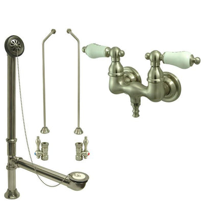 Satin Nickel Wall Mount Clawfoot Bath Tub Filler Faucet Package CC33T8system