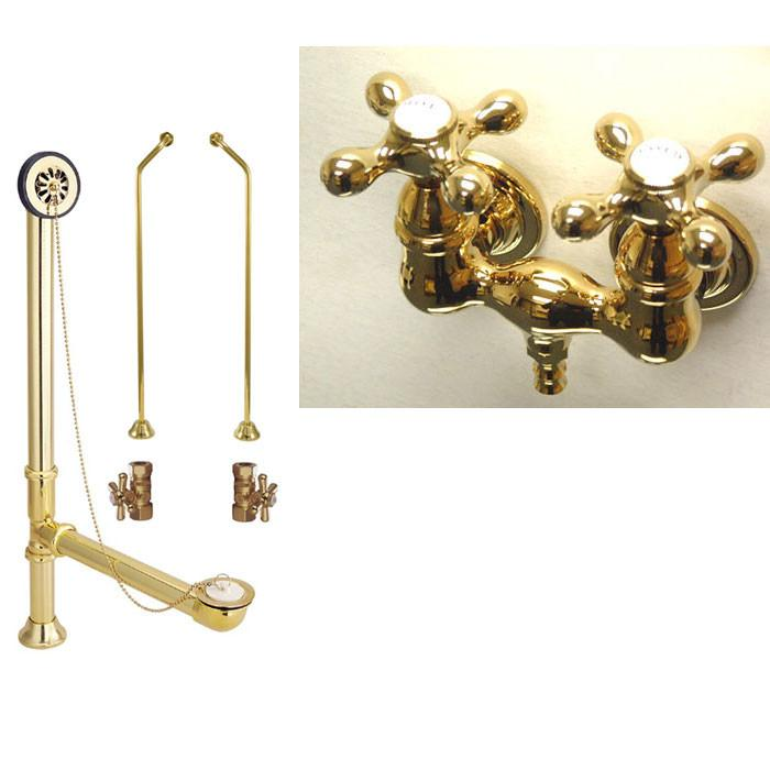 Polished Brass Wall Mount Clawfoot Bath Tub Filler Faucet Package CC37T2system