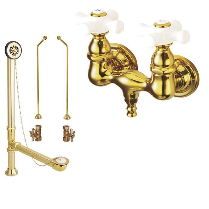 Polished Brass Wall Mount Clawfoot Bath Tub Filler Faucet Package CC39T2system