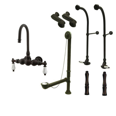 Freestanding Floor Mount Oil Rubbed Bronze Hot/Cold Porcelain Lever Handle Clawfoot Tub Filler Faucet Package 3T5FSP