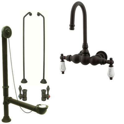 Oil Rubbed Bronze Wall Mount Clawfoot Tub Faucet Package w Drain Supplies Stops CC3T5system