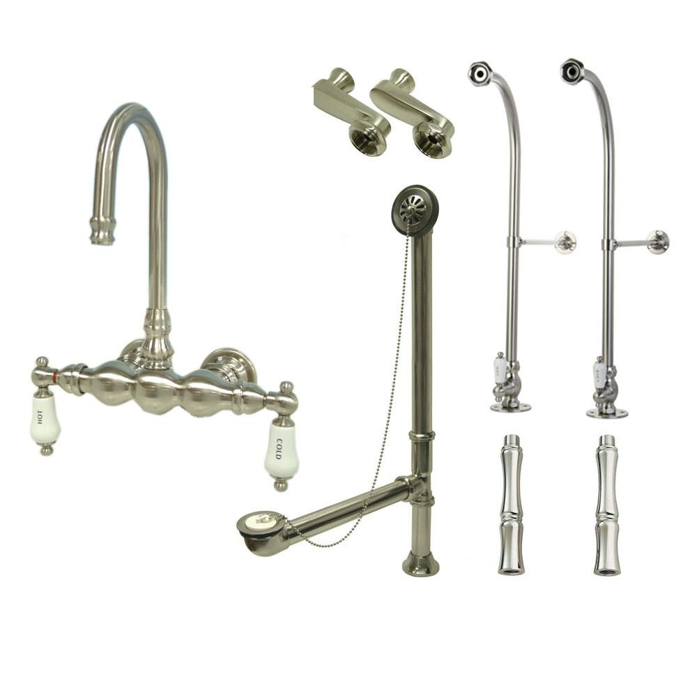 Freestanding Floor Mount Satin Nickel Hot/Cold Porcelain Lever Handle Clawfoot Tub Filler Faucet Package 3T8FSP